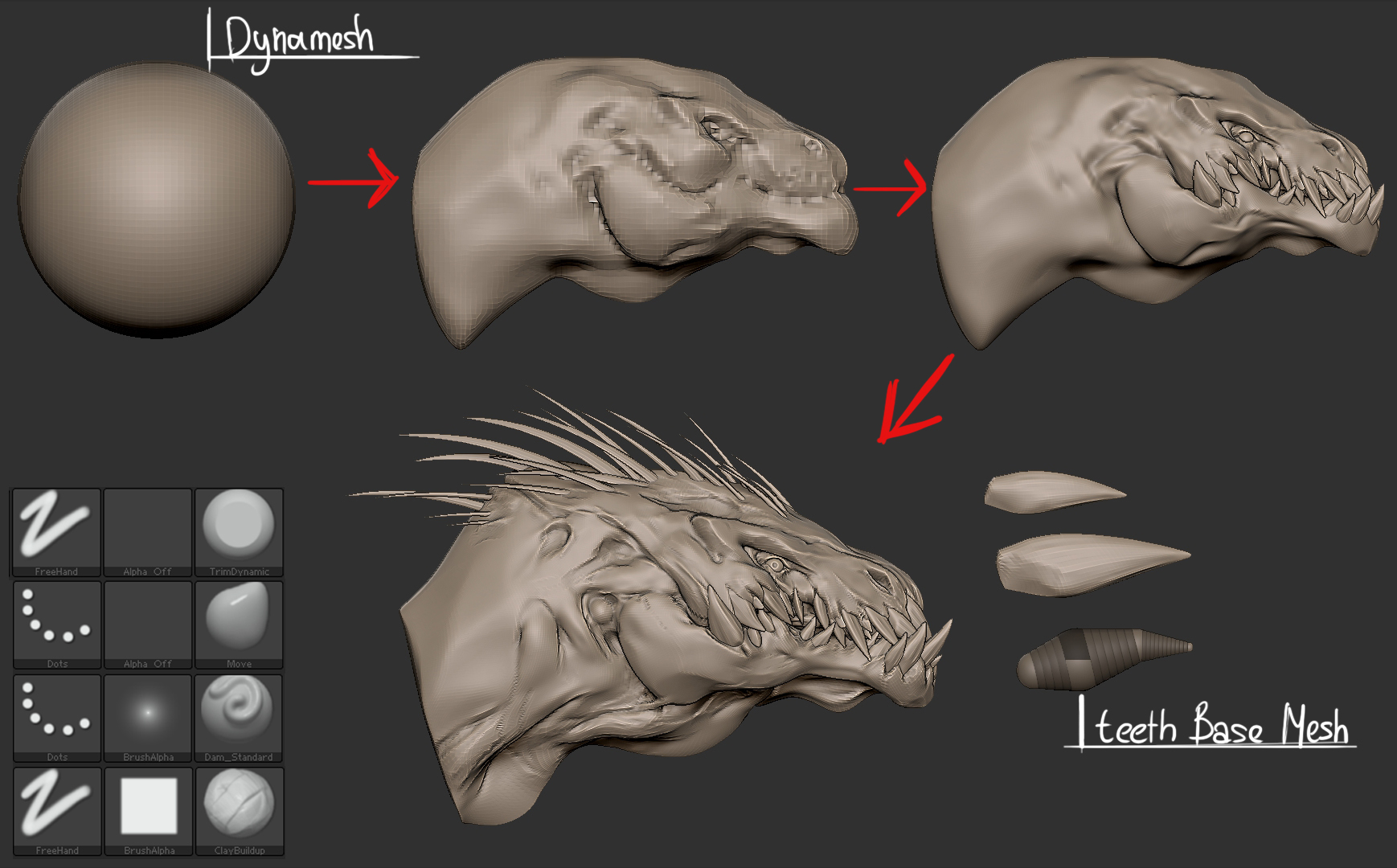 How to create a 3D dinosaur raptor concept with Zbrush | The